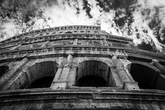 Colosseum BW (King Grecko) Tags: 2470f28 5dmk3 5dmkiii ancient architecture bw bwrotunda cloud cloudsky colosseum corinthian doric forum historic roman sky travel traveldestinations abandoned black blackandwhite building canon canoneos5dmk3 clouds column contrast dramatic eos europe history italy pillar remains rome ruins white rotunda