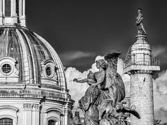 Eclectic Rome (derek.dpr) Tags: rome olympus omd em5 roma italy italia architecture architectural classical sculpture bw black bianco nero noir monochrome mono