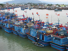 Blue boats in Nha trang, Vietnam (mbphillips) Tags: fareast southeastasia 越南 ベトナム 베트남 asia アジア 아시아 亚洲 亞洲 mbphillips canonixus400 geotagged photojournalism photojournalist travel vietnam