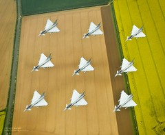RAF Typhoon Aircraft in Diamond Formation (Defence Images) Tags: uk fighter unitedkingdom aircraft military jet free lincolnshire diamond equipment eurofighter british f2 defensive defense defence typhoon raf royalairforce rafconingsby