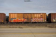 ASPEKT, BAYSE (FreshySnapper) Tags: railroad art train graffiti artwork paint graf rail trains rails spraypaint graff railart