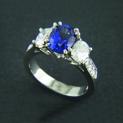 Sapphire and Diamond 3 Stone Ring (alexandcompanyjewelers) Tags: wedding band 18k citrine whitegold goldnecklace