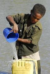 Zenabu Mesele fetches water from the pond. (UNICEF Ethiopia) Tags: africa unicef girls children un wash ethiopia childprotection ruralareas ruralwash