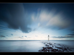 Protecting The Mersey (A-D-Jones) Tags: ocean new blue sea lighthouse seascape water rock clouds liverpool rocks brighton long exposure perch filters hitech wallasey wirral merseyside 10stopper