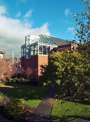 Eaton Hall (jakevanwinkle) Tags: seattle cloud sun college university science greenhouse fujifilm x10 seattlepacificuniversity fujifilmx10