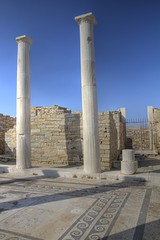 A Temple in Delos (Jill Clardy) Tags: blue sky history abandoned tile island greek temple ancient day mosaic columns clear greece 100views delos 3514 3515 3513