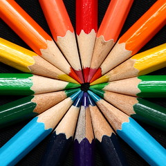 Pencil colour wheel (blacksplat) Tags: blue red orange abstract color colour green art wheel yellow pencil pencils canon catchycolors circle square spectrum violet indigo squareformat rgb lead