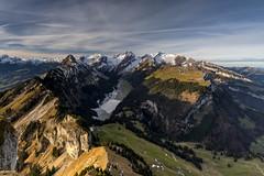Good Morning Alpstein (PhiiiiiiiL) Tags: morning sky sun mountain mountains berg clouds landscape schweiz switzerland nikon day suisse himmel wolken berge viewpoint landschaft sonne morgen hitech kasten appenzell sntis alpstein altmann hoher smtisersee innerrhoden d800e pwpartlycloudy