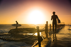 Dee Why Surfers (Kokkai Ng) Tags: ocean morning travel sea two sky people sun men beach boys pool silhouette rock swimming sunrise dawn surfer sydney teens australia surfing clear surfboard rails beaches surfers why dee northern railings deewhy