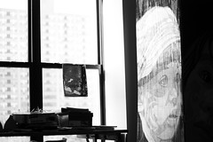 the loft view (peculiarnothings) Tags: blackandwhite art window loft newjersey paint view pan newark