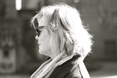 mother at play (peculiarnothings) Tags: park portrait blackandwhite sunglasses mom outdoors glasses profile mother mama