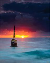 The Test of Time...... (scott morgan images) Tags: ocean sunset waves australia perth wa westernaustralia bollard stormclouds cottesloebeach latestuploadsflickr