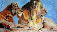 African Lions Painting (angelique.luff) Tags: africa blue orange abstract art beautiful grass contrast painting high sand kenya south culture surreal dry lazy lions savannah lying impressionist loose realism