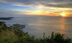Sunset at Promthep Cape, Phuket, Thailand (Thainlin Tay) Tags: sunset water thailand boats island bay dusk landmark spot tourist area sail cape romantic phuket popular hdr promthep