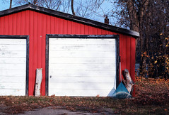 105. Garage (enfys photography) Tags: autumn red fall leaves canon rust garage rake t3i 365project