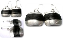 Angeles Flor mondrian earrings in black (Ans Designs) Tags: textilejewellery angelesflor aluminiumjewellery ansdesigns
