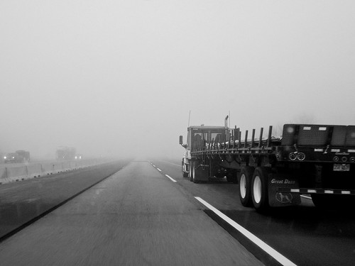 Interstate 90 In Fog