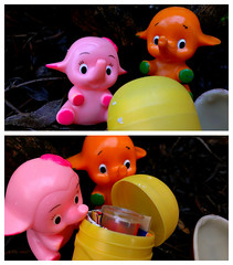 Due Date (John 3000) Tags: pink 2 two orange elephant animals collage mystery advertising toys chocolate duo pair capsule kinder pharmacy surprise eggs series mascots juguetes sorpresa hatching sato hatchling satochan elefantes satoko satokochan