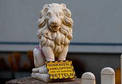 Willkommen! (austrianpsycho) Tags: sign lion schild tor tür löwe tafel betteln audienz hinknien
