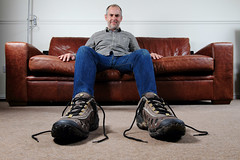 Big Shoes 338/366 ([inFocus]) Tags: selfportrait home canon big shoes stu year lounge creative sofa 7d 365 oversized 1022mm forcedperspective merrell 2012 lastolite speedlite 366 strobist ezybox project366