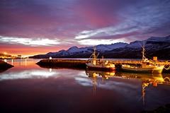 Boats at mooring (*Jonina*) Tags: morning sky reflection clouds sunrise boats iceland village harbour sland btar sk himinn speglun morgunn hfnin slarupprs fskrsfjrur faskrudsfjordur orp jnnagurnskarsdttir