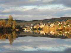 Mirror Reflections, Lairg, Sutherland, November 2012 (allanmaciver) Tags: november blue autumn light water clouds reflections mirror still quiet colours peace loch shin 2012 lairg allanmaciver