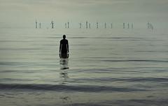 Solitary. Crosby (Ianmoran1970) Tags: anotherplace anthonygormley statue statues ironman ironmen ianmoran1970 ianmoran crosby beach wave mersey irishsea windturbines windmills solitary alone