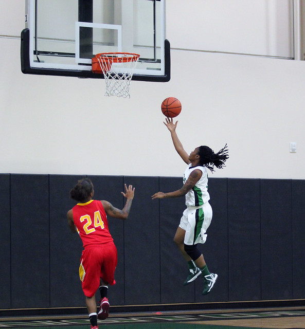 Freshman Tenicia Spence converts a fastbreak layup in the first half. She scored a team high 14 points on Tuesday against Chestnut Hill. Photo by Liz Case