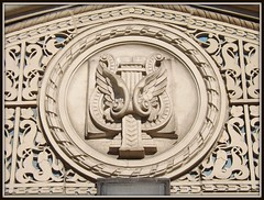 Architectural Detail: Masonic Temple--Detroit MI (pinehurst19475) Tags: city urban building architecturaldetail michigan detroit limestone masonictemple lyre casspark nationalregister nationalregisterofhistoricplaces georgedmason nrhp sculpturalrelief cassparkhistoricdistrict nrhpdistrict04001580