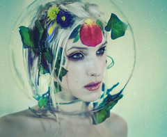 .terrarium. (Kindra Nikole) Tags: glass girl globe space helmet petal foliage greenhouse bubble float terrarium helm