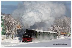 Winterdampf (olherfoto) Tags: railroad winter snow train frost eisenbahn rail railway trains steam bahn gauge narrow dampflok dampfzug schmalspurbahn