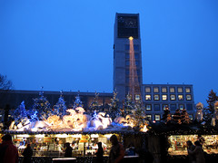 Christmas market in Stuttgart, Germany (Batikart) Tags: christmas city travel blue windows winter sky people food building clock architecture canon germany festive season geotagged outdoors deutschland lights europa europe december advent day afternoon market stuttgart dusk decoration illuminations tranquility christmasmarket romance celebration drinks townhall leisure bluehour tradition relaxation adventcalendar ursula gebude enjoyment 2012 sander g11 badenwrttemberg batikart canonpowershotg11
