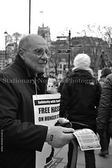 (Stationary Nomads) Tags: bw white black westminster poster demo freedom israel uniform westbank political protest free police parliament bigben demonstration human rights government met leaflet vigil racism activists israeli gaza apartheid prisoners palestinian metropolitanpolice hungerstrike ihrc londonmetropolitanpolice islamichumanrightscommission