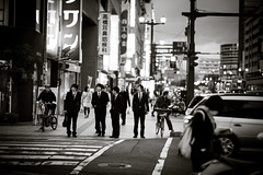 Hiroshima City (Imahinasyon Photography) Tags: street city boy white black cars japan night canon lights office streetphotography hiroshima drama employee benw imahinasyonphotography