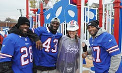 NFL Buffalo Bills stars C.J. Spiller, Bryan Scott and George Wilson at a KaBOOM! build in Lackawanna, NY (kaboomplay) Tags: mobile buffalobills nfl kaboom celebrities georgewilson bryanscott cjspiller