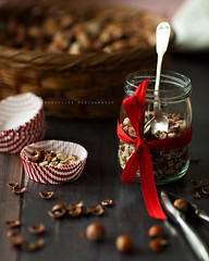 Going to feed wild birds in my garden (| Les Hirondelles |) Tags: wood winter red stilllife food shells kitchen glass fruits closeup canon table wooden dof basket redribbon bokeh treats seasonal stripe nuts 85mm tasty naturallight spoon delicious jar chopping feedingthebirds nutcracker chopped ribbon taste nut striped hazelnut preparing righe selectivefocus hazelnuts wintry liners woodentable driedfruits nocciole schiaccianoci fruttasecca redandwhitestripes pirottino choppedhazelnuts wintertreats leshirondellesphotography cakeliners shellfruit shellgusci birdstreats hazelnutsbasket