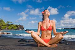 Waianapanapa in Hana (*michael sweet*) Tags: travel red vacation woman tourism beach smiling hawaii sand waianapanapa state maui bikini hana balck destination parl peacefully