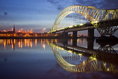 High.... (Chrisconphoto) Tags: reflections high twilight bluehour hightide merseyside widnes goodlight runcornbridge