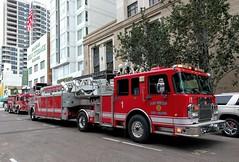 San Diego Fire Rescue (So Cal Metro) Tags: firetruck sdfd sandiego spartan ladder truck laddertruck downtown