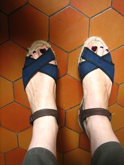rope pair (Ladybadtiming) Tags: shoes shoefreak feet fashion paregabia rope sandals brown blue black straps skin pair tiles espadrilles