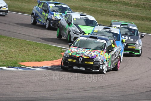 Chris Smiley leads Lee Pattison at Rockingham during the Clio Cup, August 2016