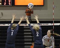 Strizak beats the block (RPahre) Tags: swing offense volleyball universityofillinois illini illinois xavier xavieruniversity huffhall huff champaign
