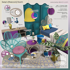 Sway's [Peacock] Room . Key | The Arcade (Sway Dench / Sway's) Tags: peacock furniture bed room divider chair teal yellow pink lamp candle picture frame pouf sideboard table arcade gacha sways