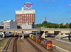 "Westbound Manifest in Kansas City, MO (""Righteous"" Grant G.) Tags: atsf santa fe bnsf locomotive emd ge train trains railway railroad kansas city missouri"