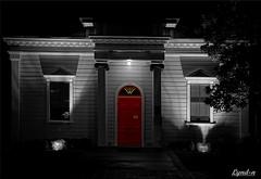 35/52 Doors and Windows (Lyndon (NZ)) Tags: week352016 52weeksthe2016edition weekstartingfridayaugust262016 selectivecolouring architecture red greytown wairarapa newzealand sony ilce7m2 night lowlight