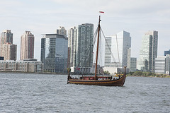 Hudson River Draken Harald Harfagre (Terese Loeb) Tags: drakenharaldharfagre viking longship hudsonriver newyorkharbor newyork newyorkcity newjersey jerseycity boat skyscrapers water norwegian scandanavian