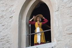 Woman - Medieval week Gotland (stenaake) Tags: woman lady medieval week festival visby gotland hat dressedup window looking sweden swedish