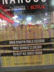Narcos Bus Shelter Pile O Money AD 5216 (Brechtbug) Tags: narcos tv show bus stop shelter ad with piles slightly singed real fake money or is it 2016 nyc 09102016 midtown manhattan new york city 49th street 7th ave st avenue moola bogus