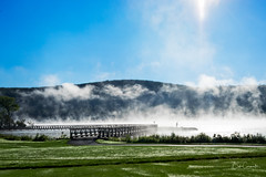 Misty Morning (Bob C Images) Tags: grass lake water fog mist misty mow cooperstown newyork golf golfcourse mountain sky sun morning travel sony a7ii