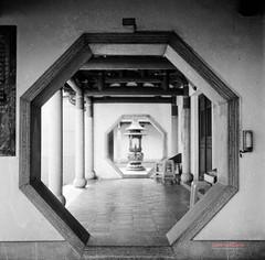 octagon gateway ( SUNRISE@DAWN photography) Tags: 3560 6x6 120film  analoquephotography bw blackandwhite buddhism buddhist carlzeissplanar75mmf35 crosscoupledtlrfilmcamera filmcamera iso100 lomographyblacnkandwhiteearlgrey120filmiso100 mediumformat monochromatic monochrome religion religious rolleiflex35f shrine squareformat temple tlr vintagecamera vintagelens